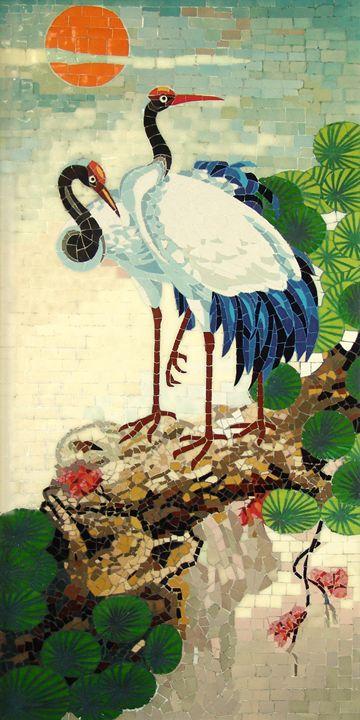 Cranes And Pine - Mai Nhon - Paintings & Prints, Animals