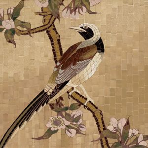 Magpie On A Branch With Rose Berries - Mai Nhon