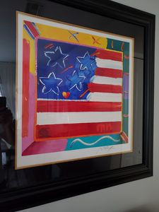 Flag with Heart, by Peter Max