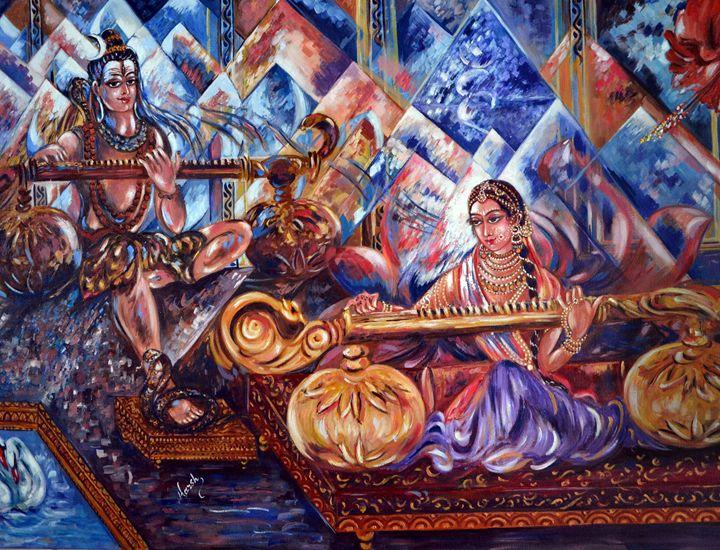 Shiva Parvati - Harsh Malik - Paintings & Prints, Fantasy