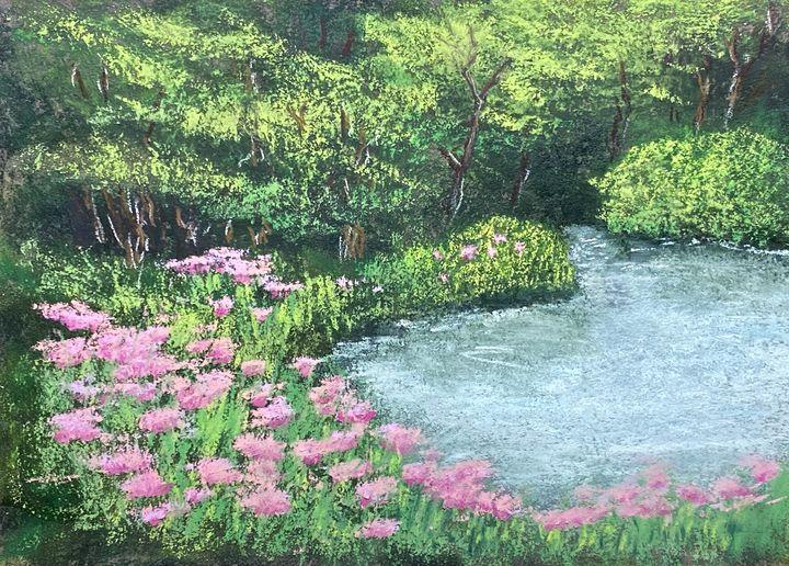 Creek with Pink Flowers - Howard Keith Clark