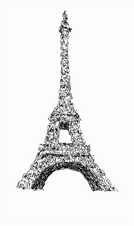 Eiffel Tower of Human Bodies - Printable Drawings