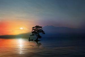 beautiful sunset on the dream lake