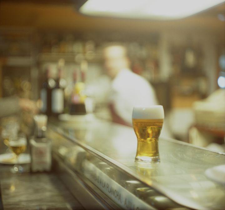 Glass of beer in Spanish tapas bar - edwardolive