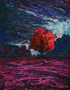 Red tree purple sky