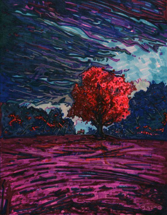 Red tree purple sky - Ian Stevenson