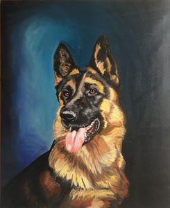 German Shepherd Portrait Oil on Canv