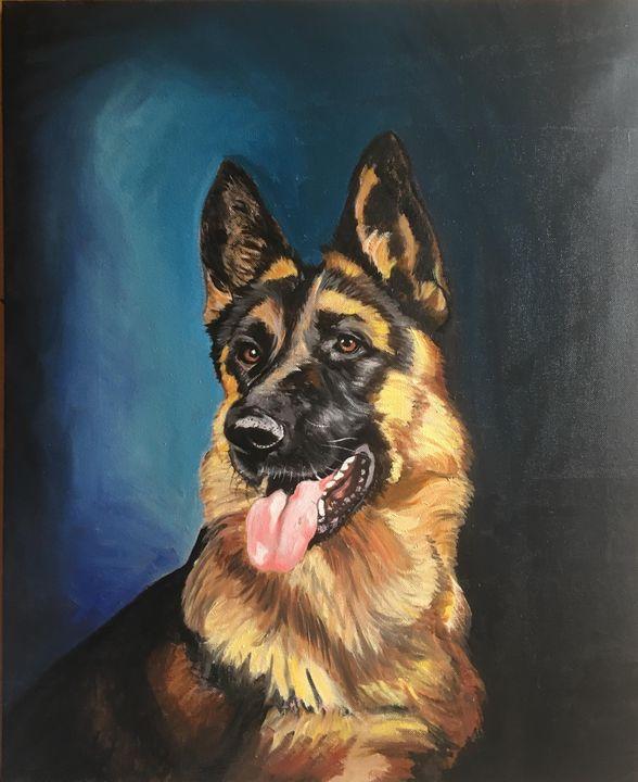 German Shepherd Portrait Oil on Canv - Freelance Commission Artist Miguel