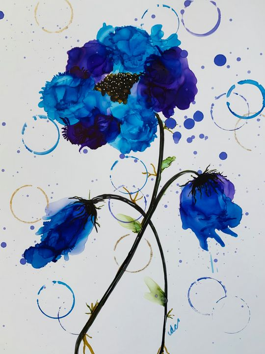 Wispy Blue and Purple Flowers - DcCreations64