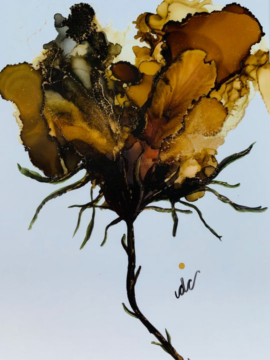 Brown Golden Abstract Flower - DcCreations64