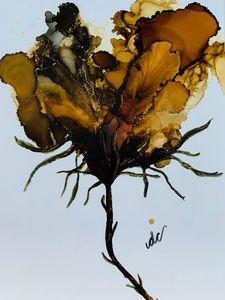 Brown Golden Abstract Flower