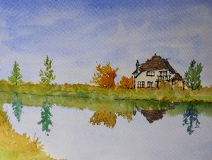 Lake House pen and wash