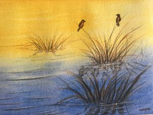 Birds on Reeds