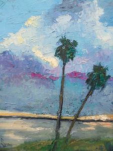 Palms and Clouds Palette Knife Paint - Carol Schiff Studio