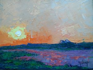 Wetlands Sunset Oil Painting