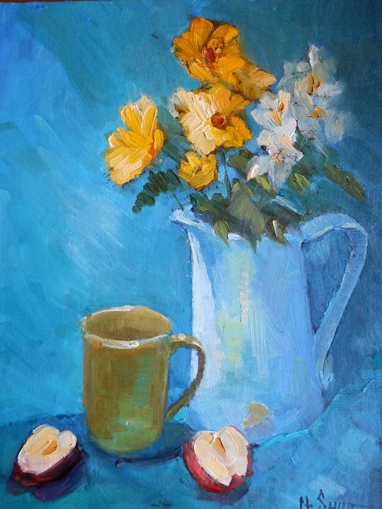 Blue and Yellow Floral - Carol Schiff Studio
