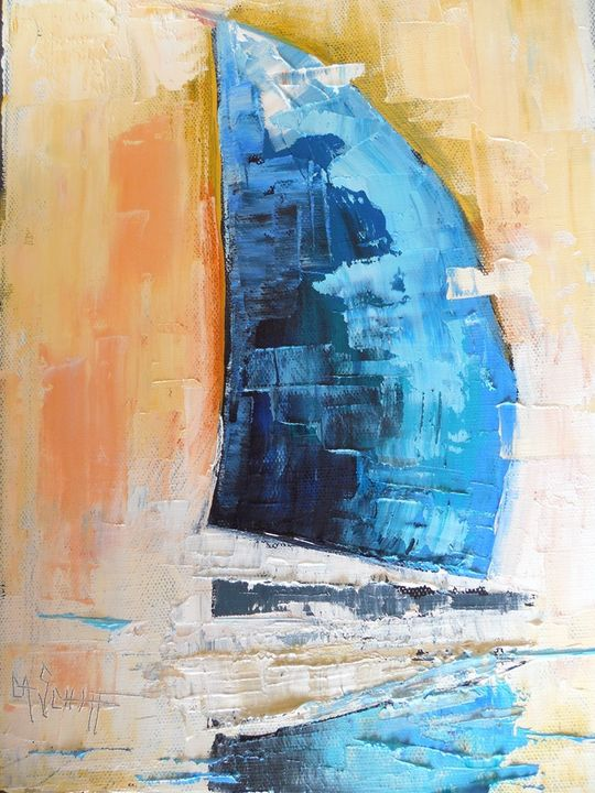 Blue Sail Original Oil Painting - Carol Schiff Studio