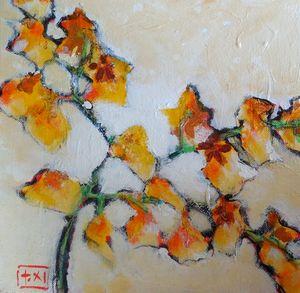 Oriental Flair Original Acrylic Art - Carol Schiff Studio