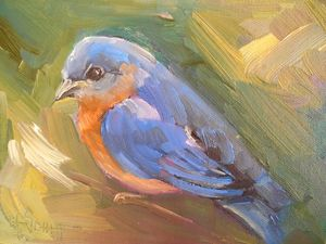 Bluebird on a Branch Oil Painting - Carol Schiff Studio