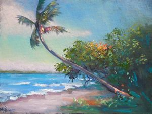 Tropical Landscape Original Oil - Carol Schiff Studio