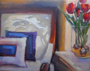 """Shadow and Tulips 8x10"""" Original Oil"""