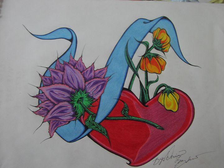 love and flowers - baker family art