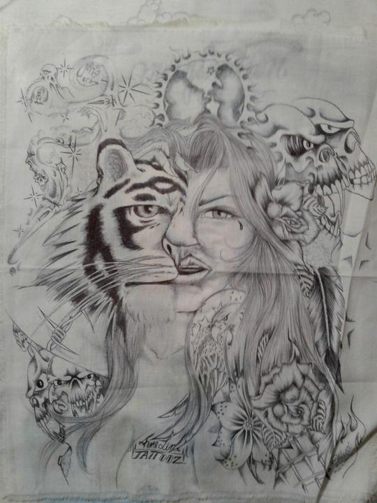 Half tiger half girl collage - Paul's FINE LINE ARTworkx