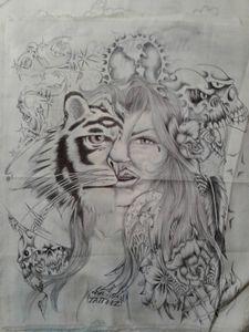 Half tiger half girl collage
