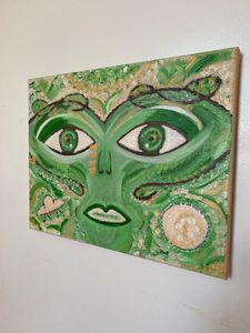 Green Alien Oil Painting