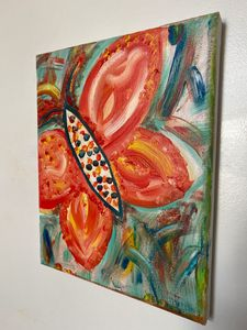 Orange Butterfly Oil Painting