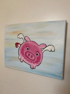 Pink Piggy Flying Oil Painting