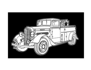 Vintage Diamond T truck - Villastrations