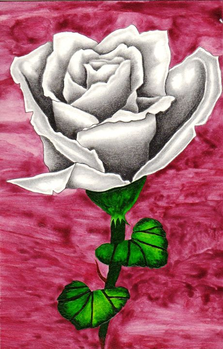 WHITE ROSE WATERCOLOR - CUSTOM ART MASTERPIECES