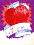 WATERCOLOR HEART RIBBON LOVE