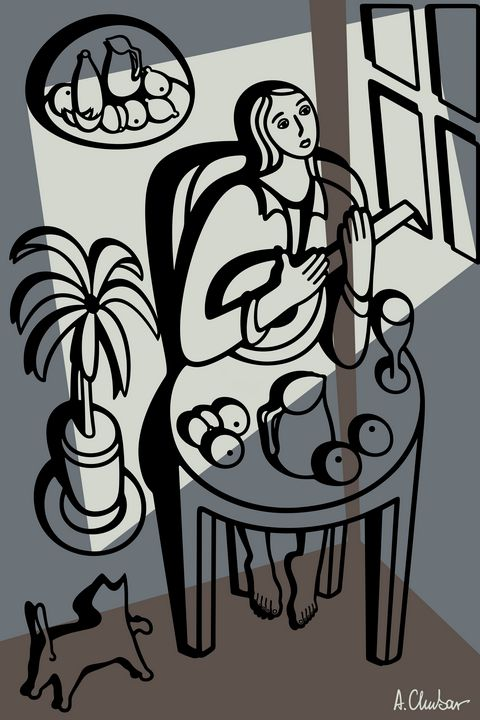 Girl Playing a Lute - Alexander Chubar