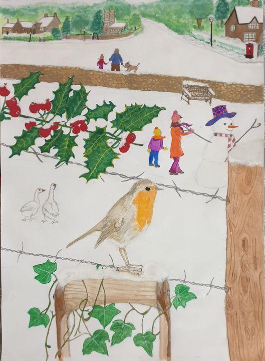 Snowy scene and Robin in the garden - Shazs Lockdown creations