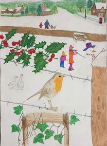 Snowy scene and Robin in the garden