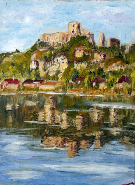 Chateau Gaillard and it's reflection - Elena Sokolova art