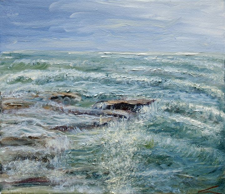 Stormy sea at Sicilia - Elena Sokolova art