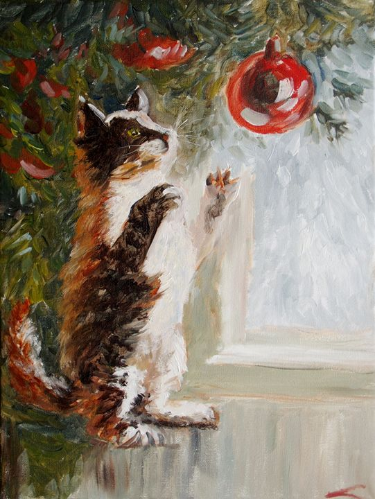 Christmas cat - Elena Sokolova art