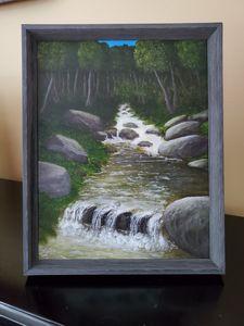 Original Oil, 'Falling River', 8x10