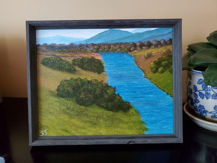 'Blue River', Original Oil Painting - Steve Joseph Landscape Art