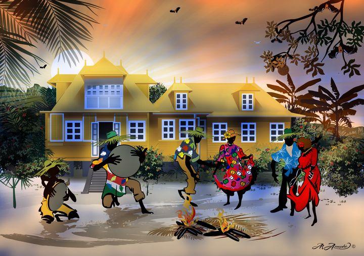 "yellow house - Michael Arnephie ""Island Life Seychelles"""