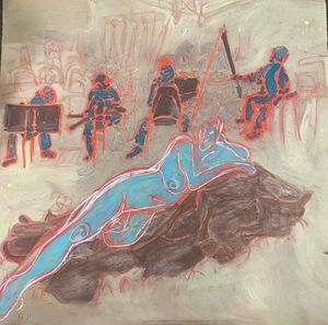 Life Drawing - blue figure - Cint Clare