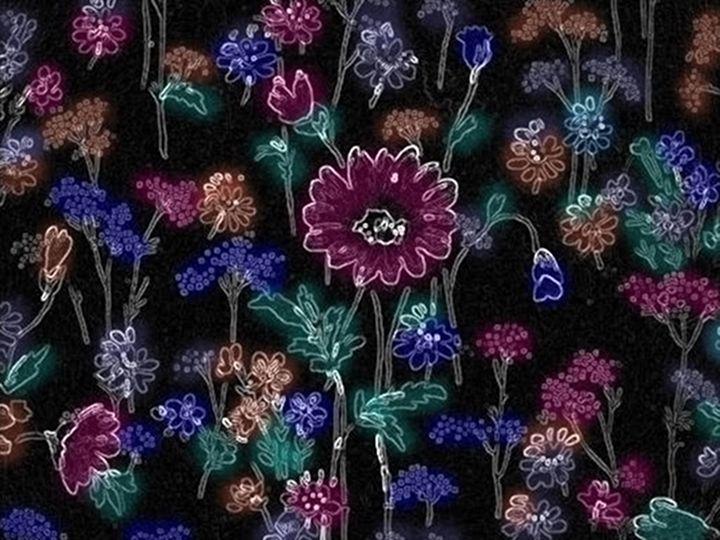 Glowing Flowers on Black - Arbjune