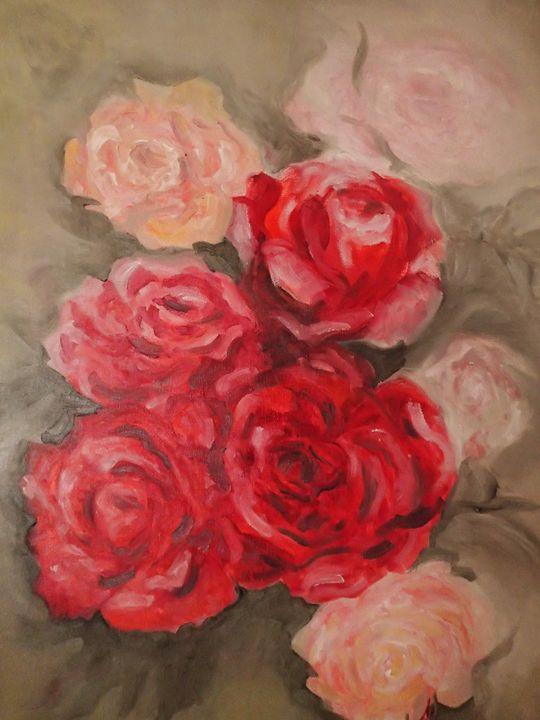 Still Life - Red Roses No.2 - Alice's Brush Strokes Art
