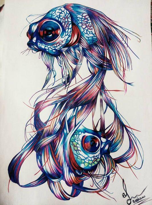 Twin fish - Pen art