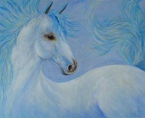 """White Horse in Blue"""