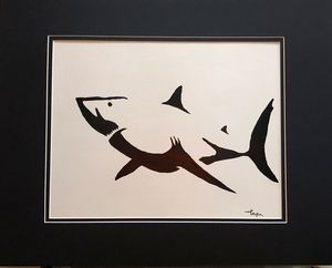 Abstract great white shark.