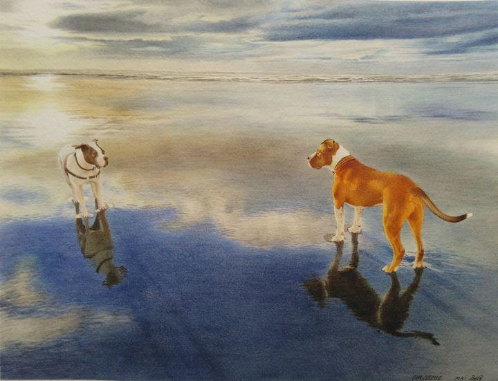 Dogs on Pacific beach - Chris'Art